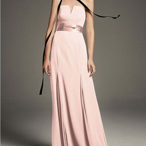 V-Wire Crepe Mermaid in Blush, White by Vera Wang